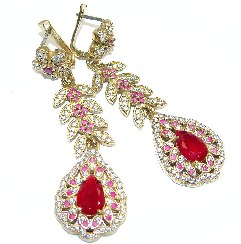 Victorian Style Red Ruby Rose Gold plated