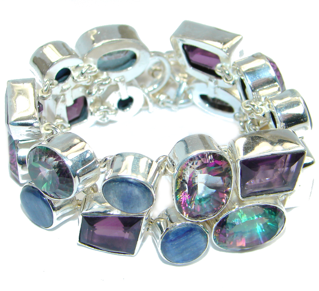 Chunky Pink Rainbow Magic Topaz Kyanite Sterling Silver handmade Bracelet
