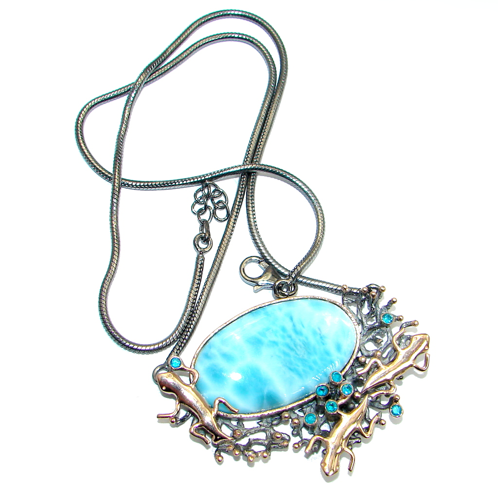 Three Lizards Caribbean Blue Larimar Swiss Blue Topaz Gold plated over Sterling Silver handcrafted necklace