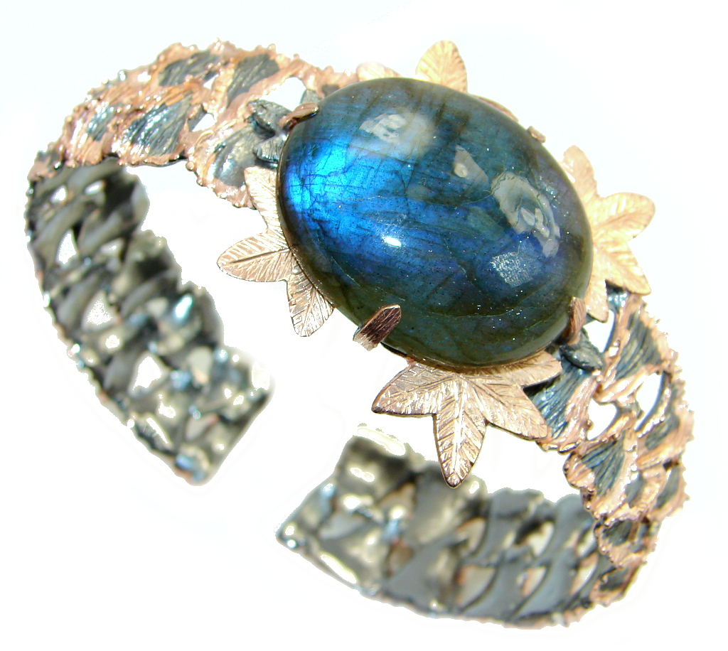 Beautiful Shimmering Labradorite Rose Gold plated over Sterling Silver handmade Bracelet / Cuff