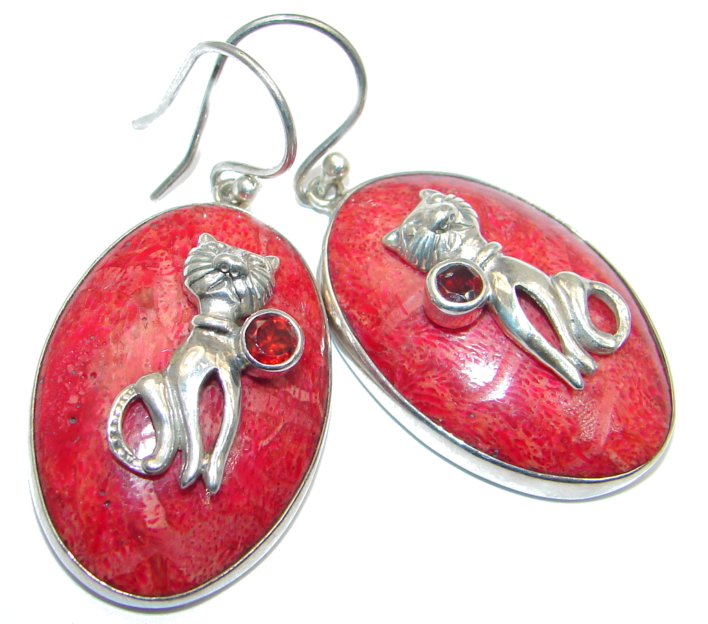 Two Cats Red Fossilized Coral Sterling Silver handcrafted earrings