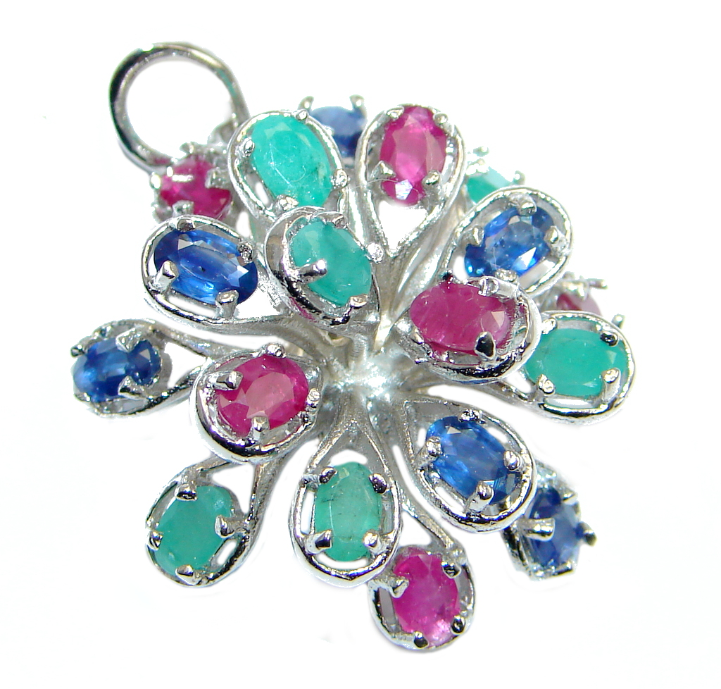 Sapphire Emerald Ruby Sterling Silver Pendant