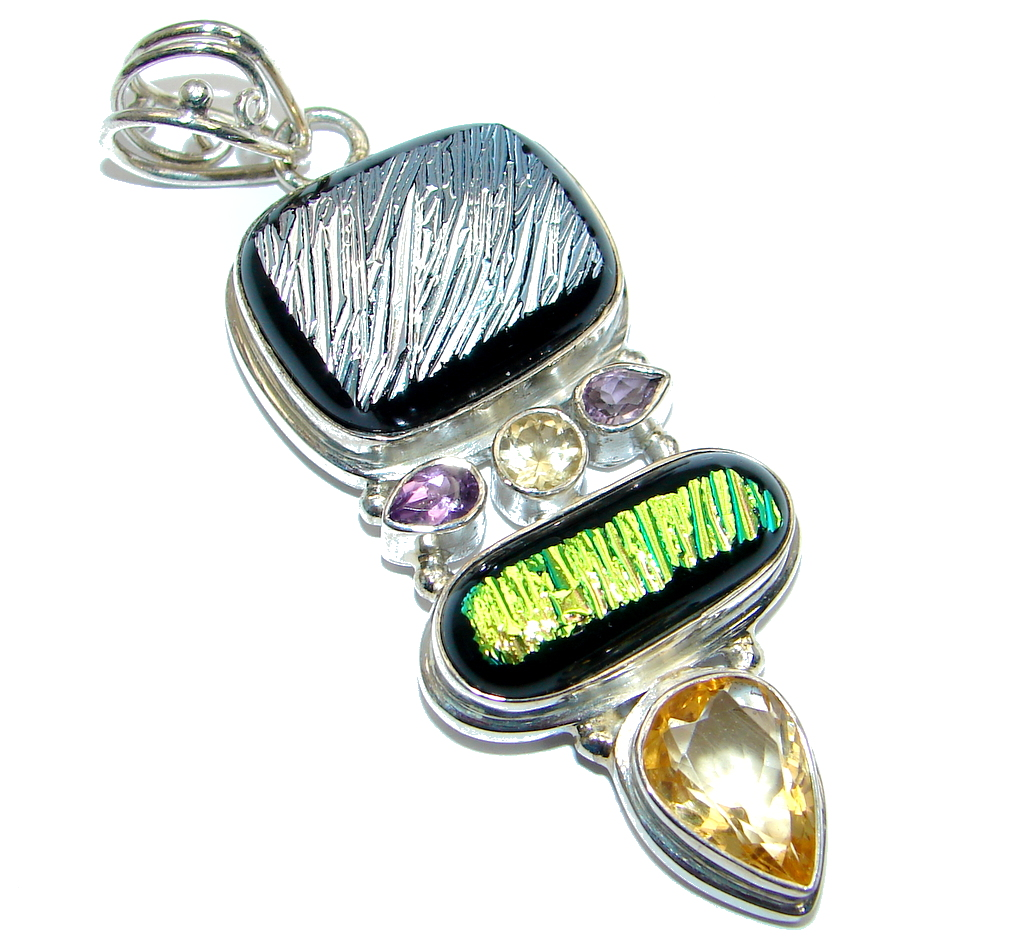 Huge Mexican Dichroic Glass Sterling Silver handmade Pendant 115375