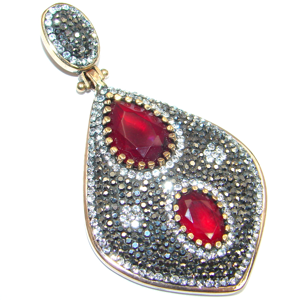 Victorian Style created Ruby Two tones Sterling Silver Pendant
