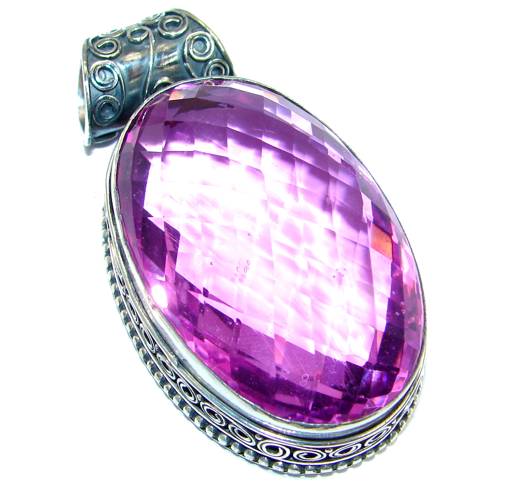 Large Amazing created Pink Sapphire Sterling Silver Pendant