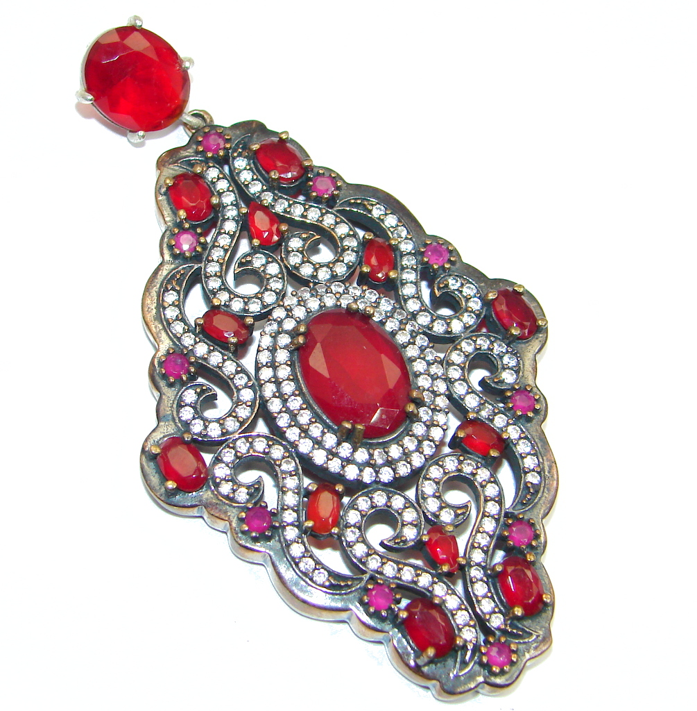 Huge Victorian Style created Ruby Spinel Two tones Sterling Silver Pendant