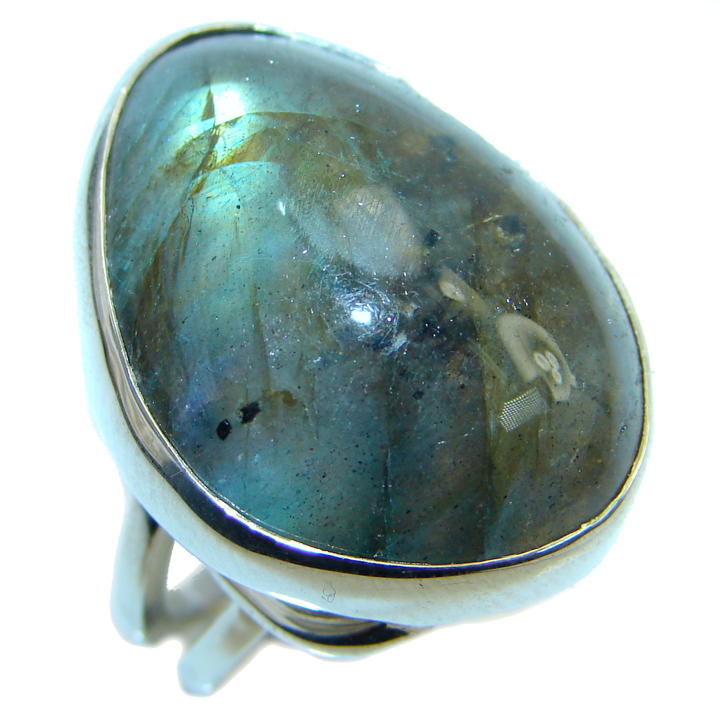 Big Blue Aura Fire Labradorite Sterling Silver ring size adjustable