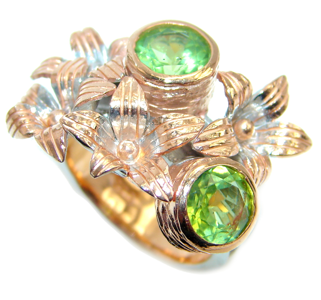 Classic Authentic Peridot Rose Gold plated over Sterling Silver Ring s. 7