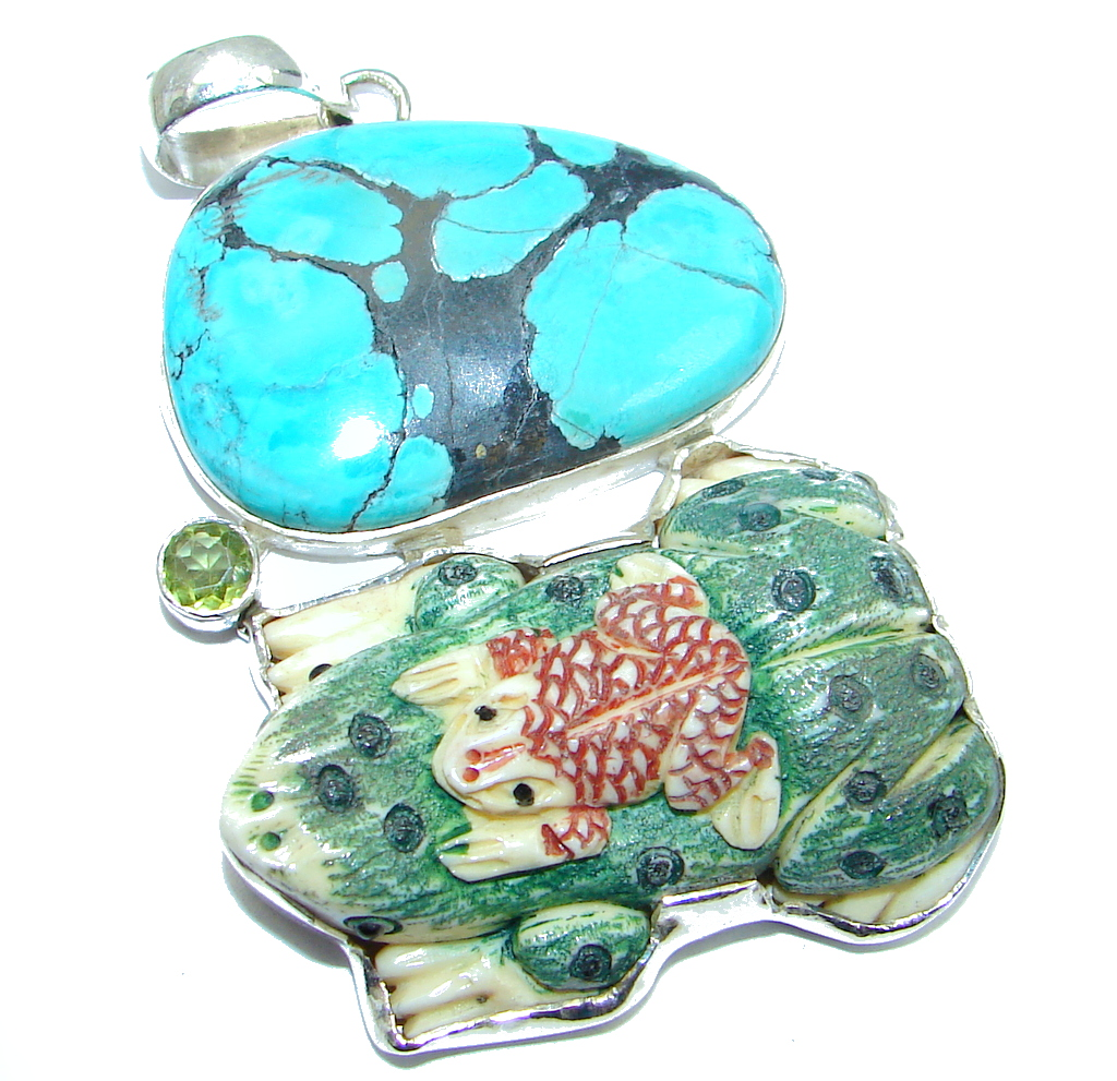 Big! Fashion Frog Carved Ox Bone Turquoise handcrafted Sterling Silver Pendant