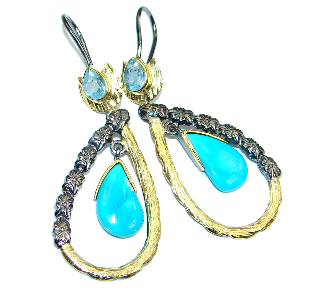 Long Sublime Slepping Beauty Turquoise Gold plated over Sterling Silver earrings
