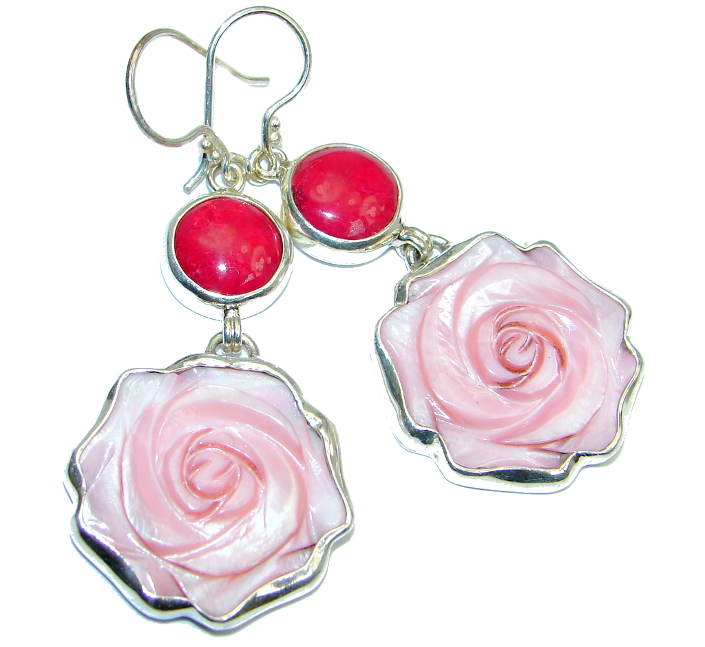 Pink Rose  Beauty Blister Pearl Coral Sterling Silver handmade Earrings