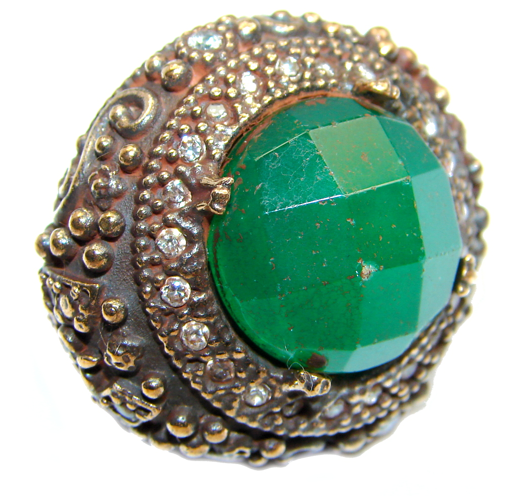 Victorian Style created Emerald & White Topaz Copper over Sterling Silve..