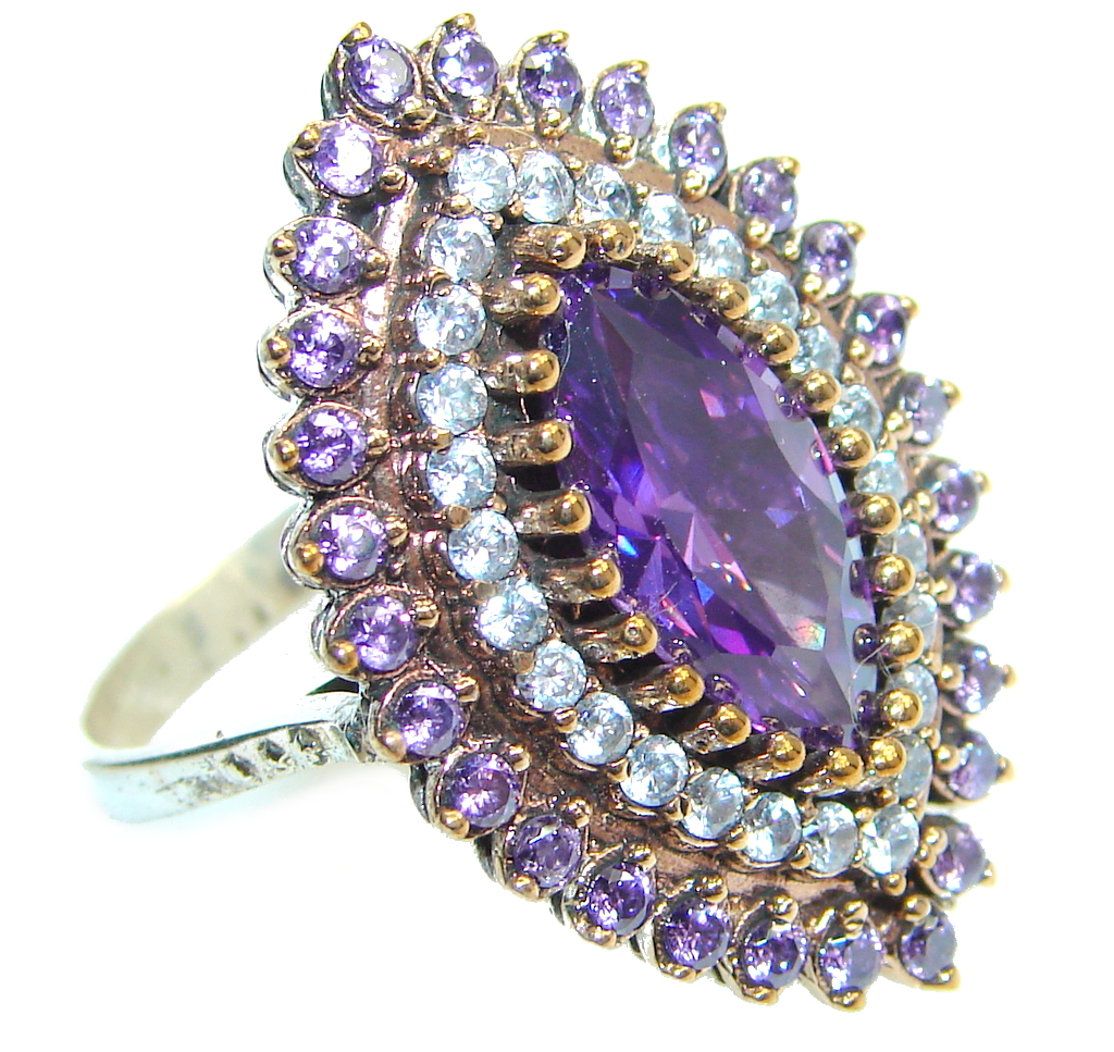 Amazing Created Amethyst Sterling Silver Ring size 8