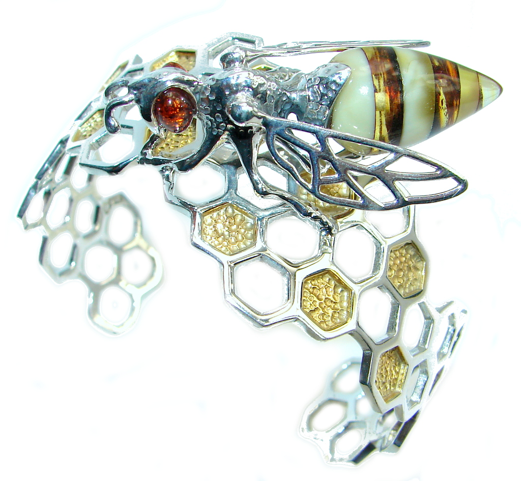 Real Master piece Honey Bee  Polish Amber Two Tones Sterling Silver Bracelet..