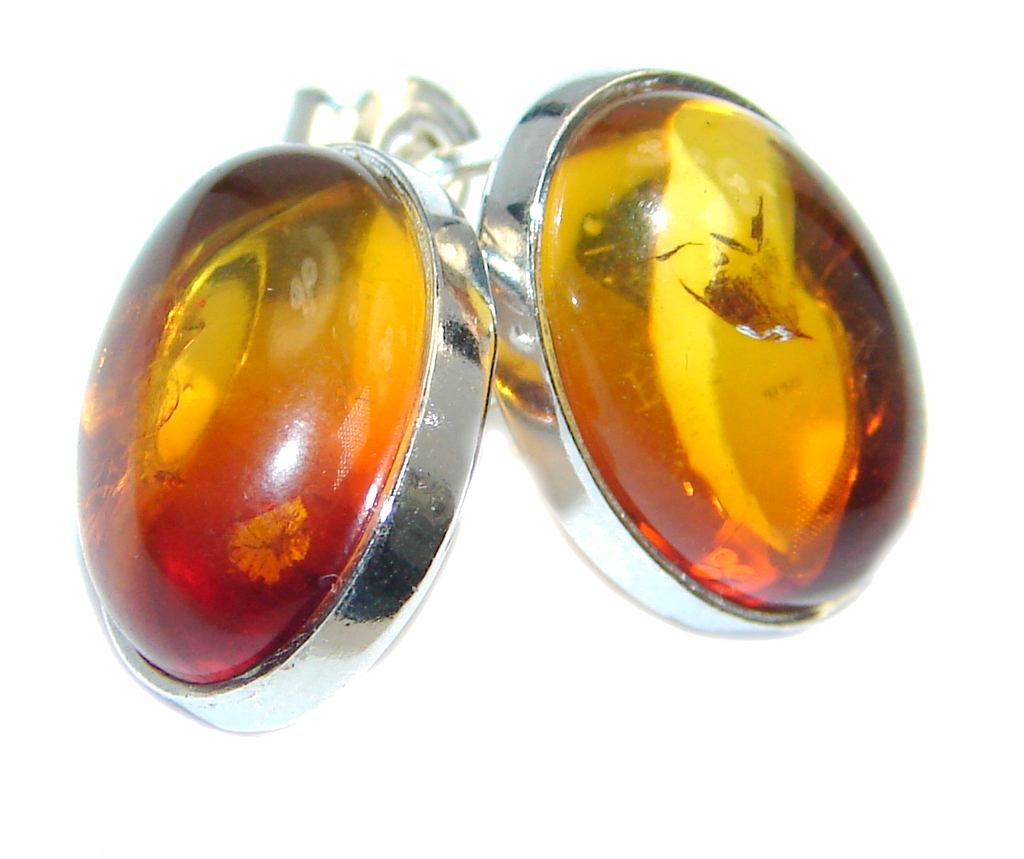 One of the kind Baltic Amber Sterling Silver handmade earrings