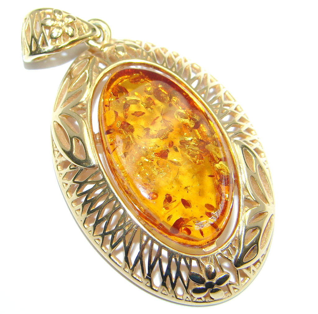 Vintage Design natural Baltic Amber Rose Gold plated with Sterling Silver ha..