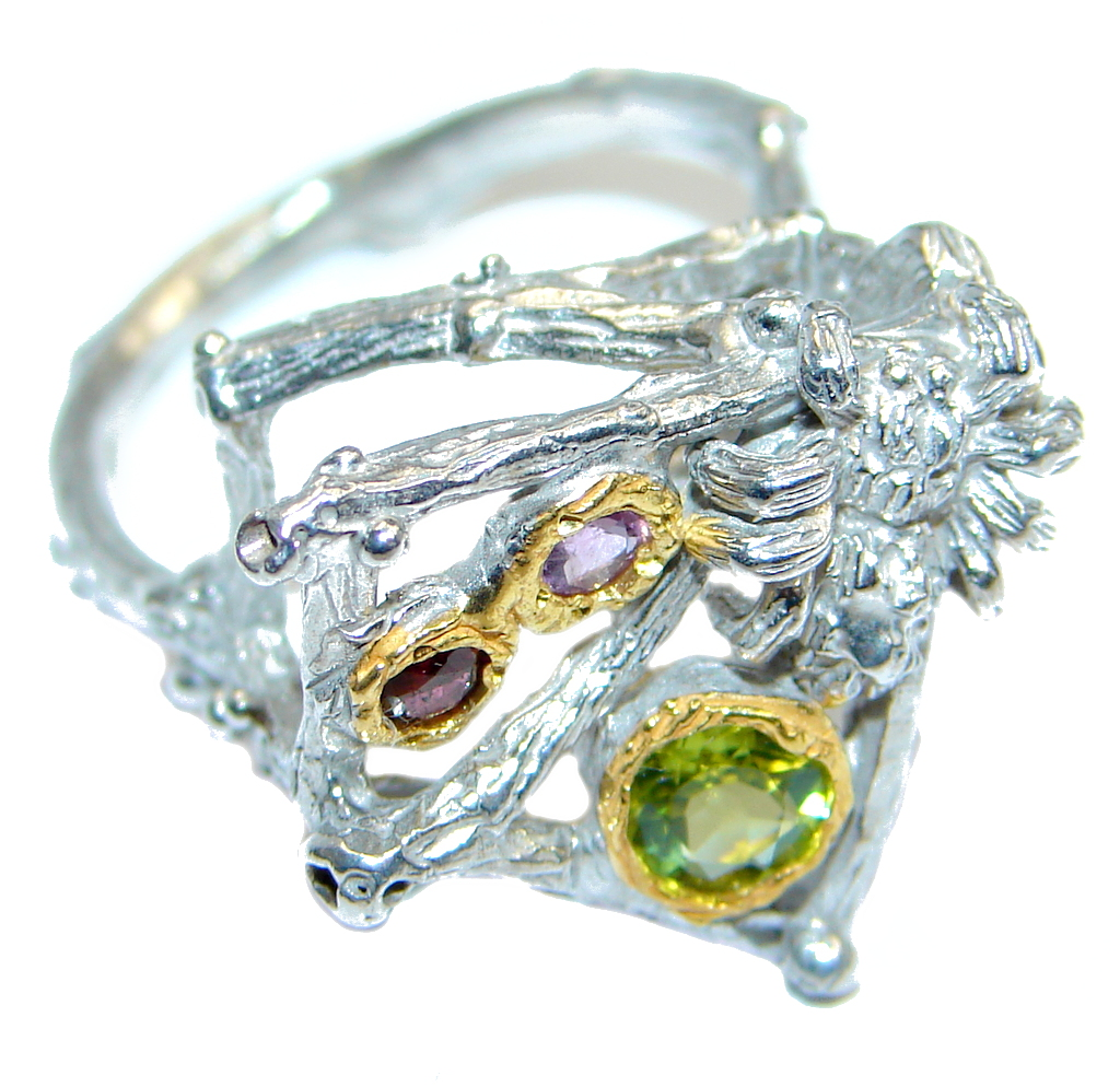 Classic Authentic Peridot Amethyst Garnet Sterling Silver Ring s. 8 1/4