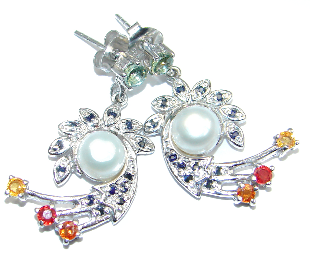 jewelpearl.com Deluxe Fancy Colors Sapphire Pearl 925 Sterling Silver Earrings