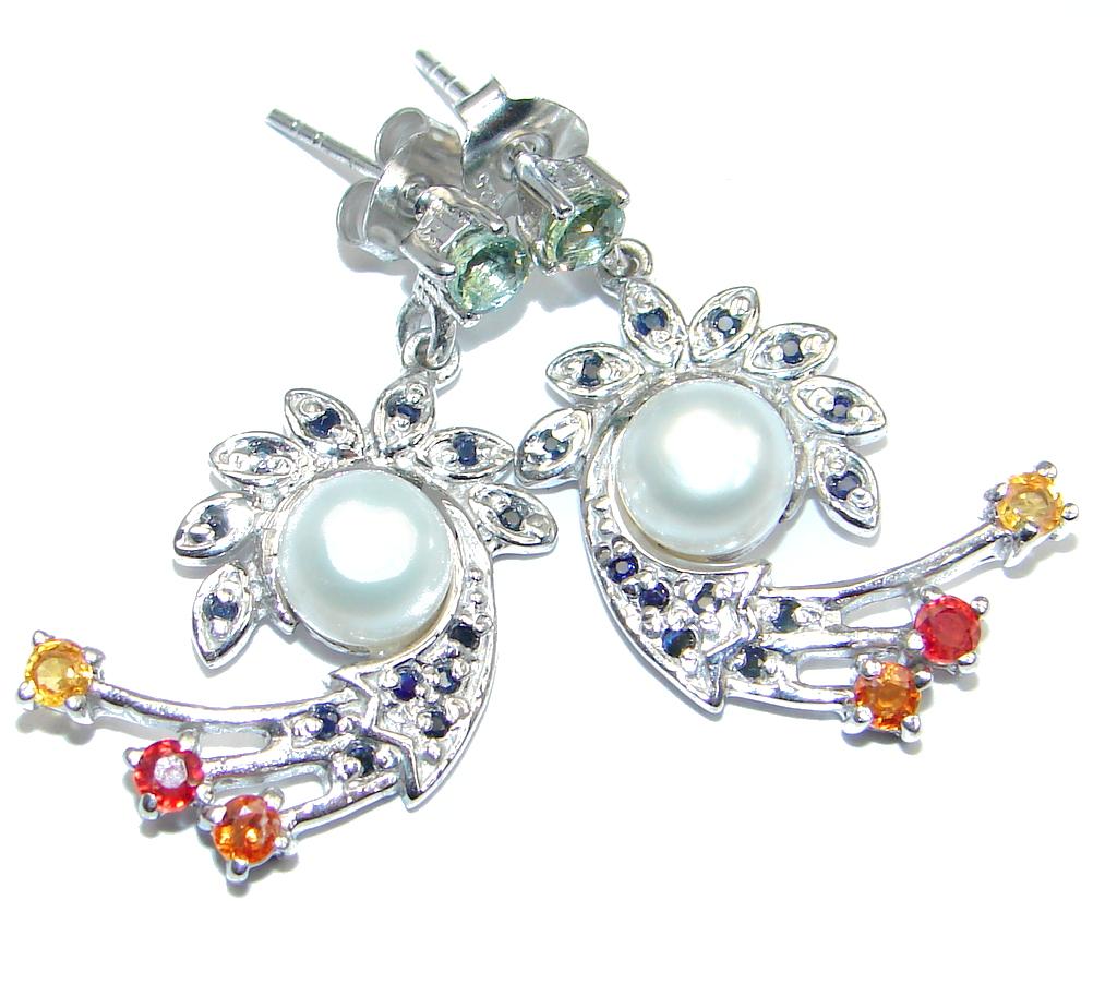 Deluxe Fancy Colors Sapphire Pearl 925 Sterling Silver Earrings