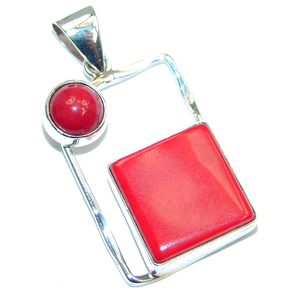 Deep Love Red Fossilized Coral Sterling Silver handmade pendant
