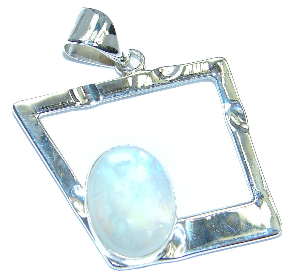 Modern Concept Fire Moonstone hammered Sterling Silver Pendant