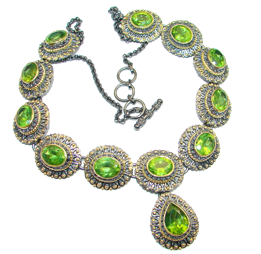 Masterpiece AAA+ Peridot Gold Rhodium plated over Sterling Silver necklace