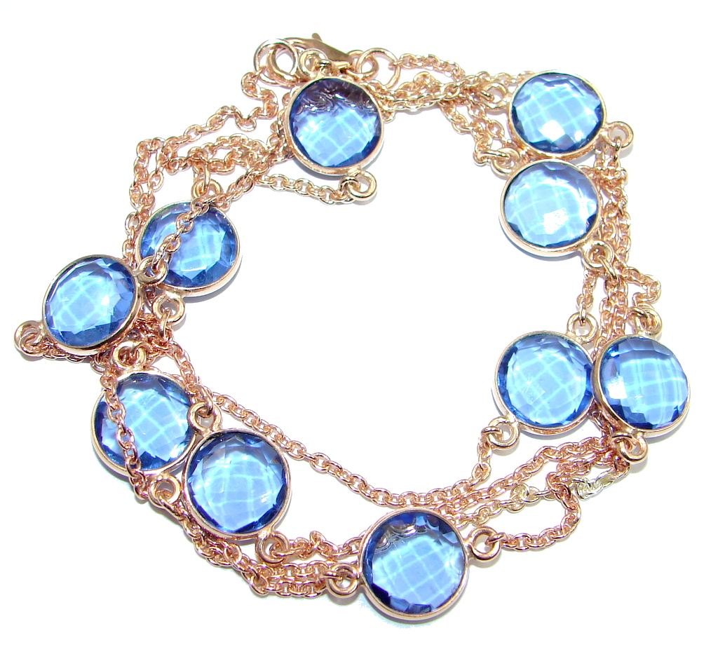 36 inches created Sapphire Rose Gold over Sterling Silver Necklace