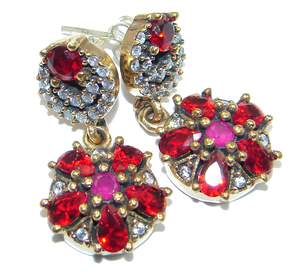 valltasy cluster rose design ruby red opal with ethiopian winter the earrings