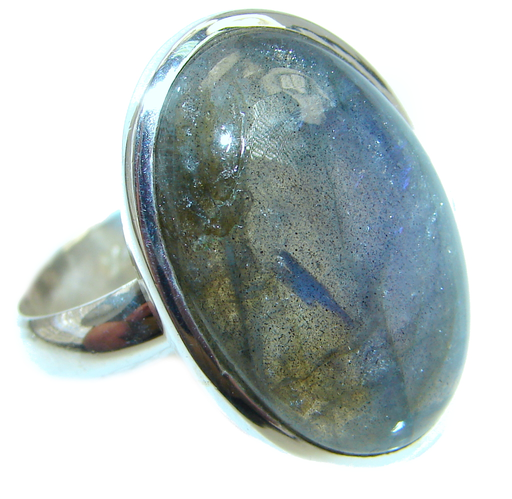 Big Blue Aura Fire Labradorite Sterling Silver ring size 8 1/4