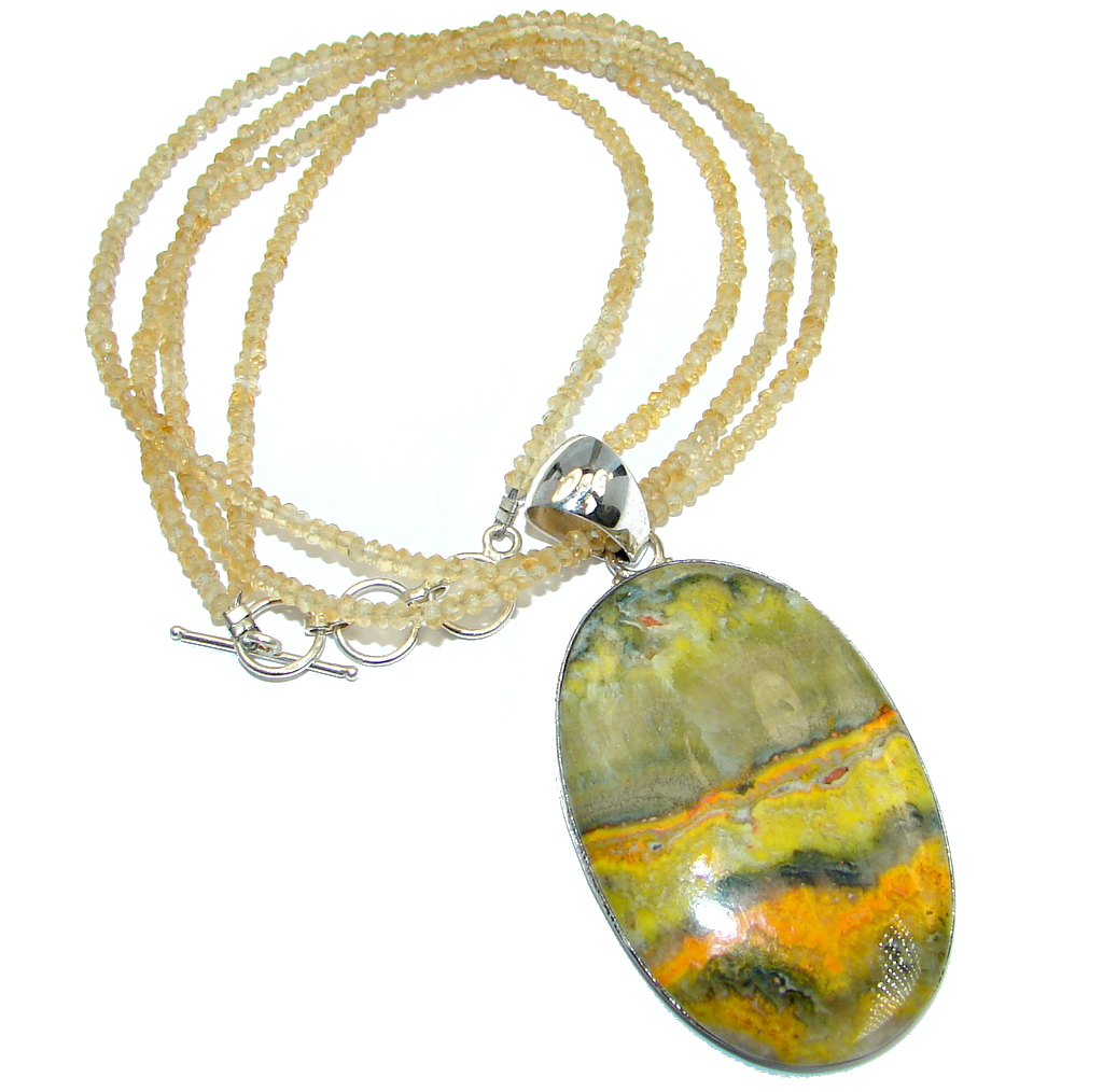 Aura Of Beauty natural Bumble Bee Jasper Citine beads Sterling Silver handmade Necklace