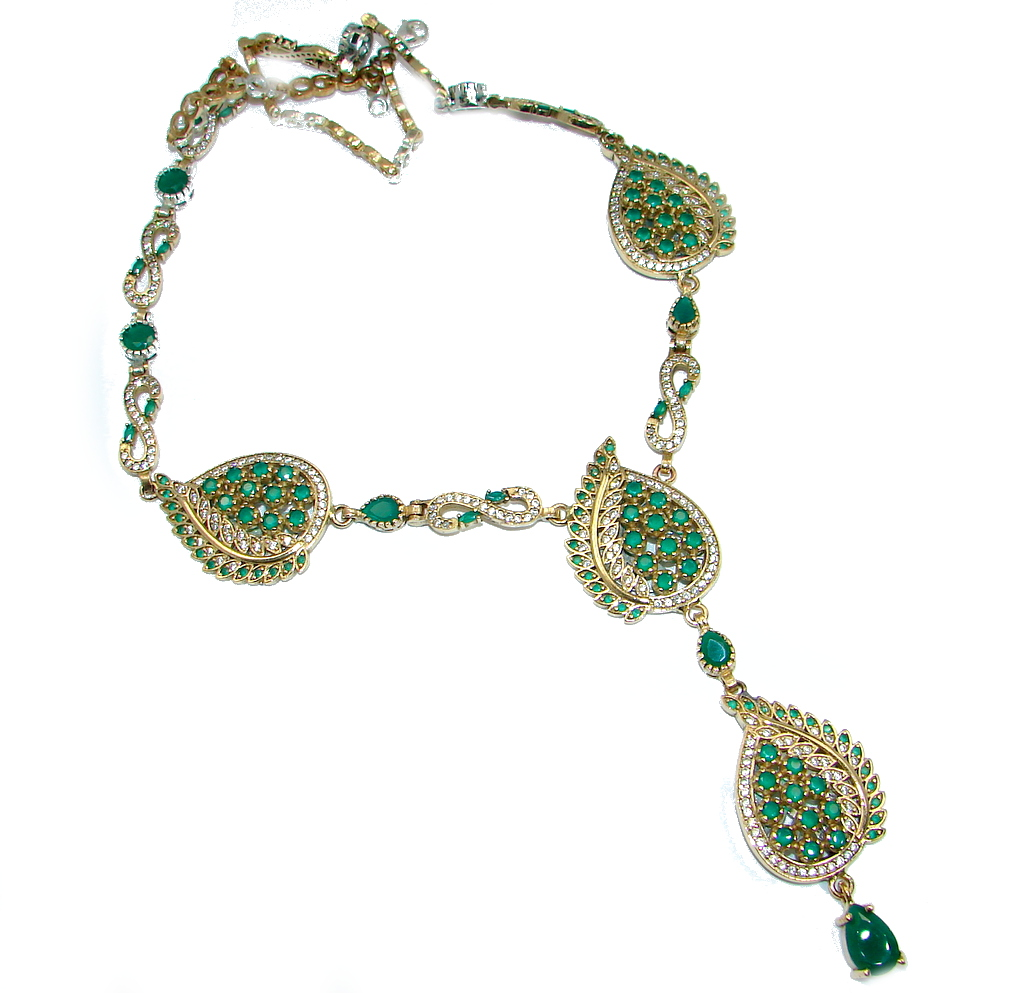 Sublime Victorian Style created Emerald & White Topaz copper over Sterling Silver necklace