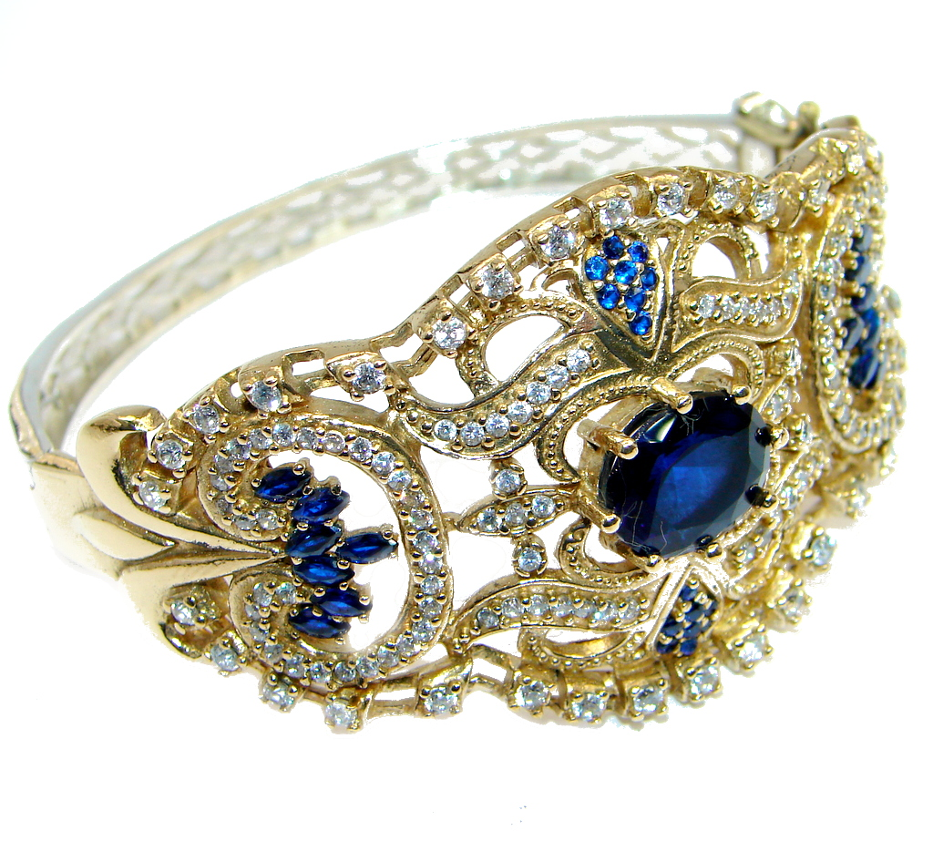 Vintage Style created Sapphire copper plated Sterling Silver Bracelet / Cuff