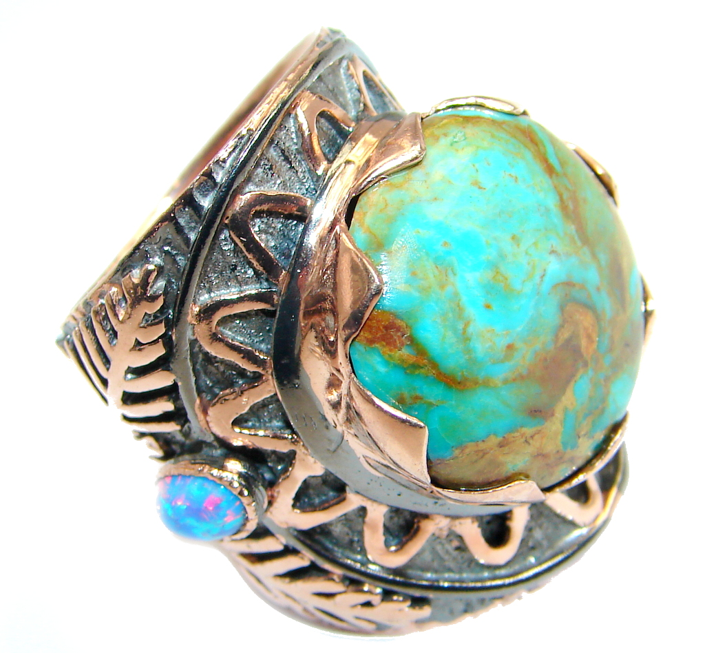Stone Of Harmony Parrots Wing Chrysocolla Rose Gold plated over Sterling Silver ring s. 6 1/2