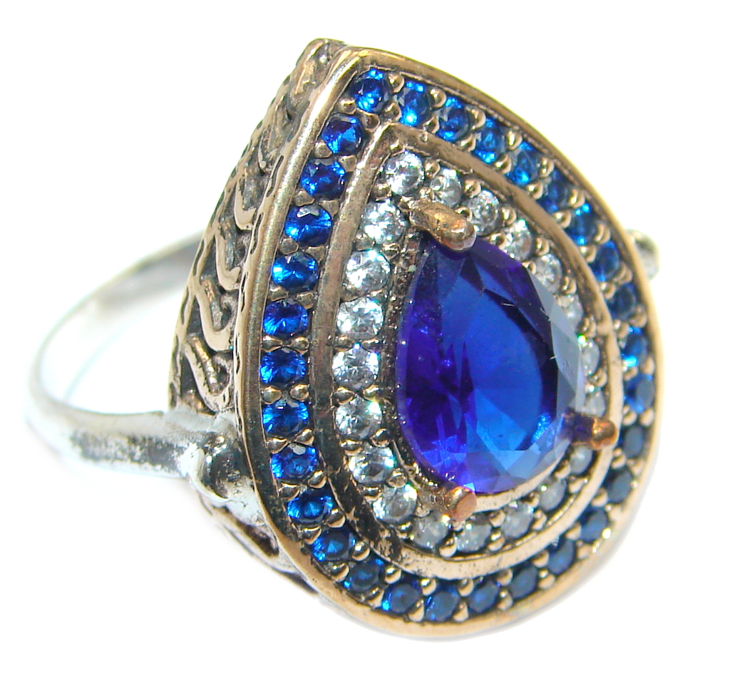 Created Blue Sapphire & White topaz Sterling Silver Ring s. 8