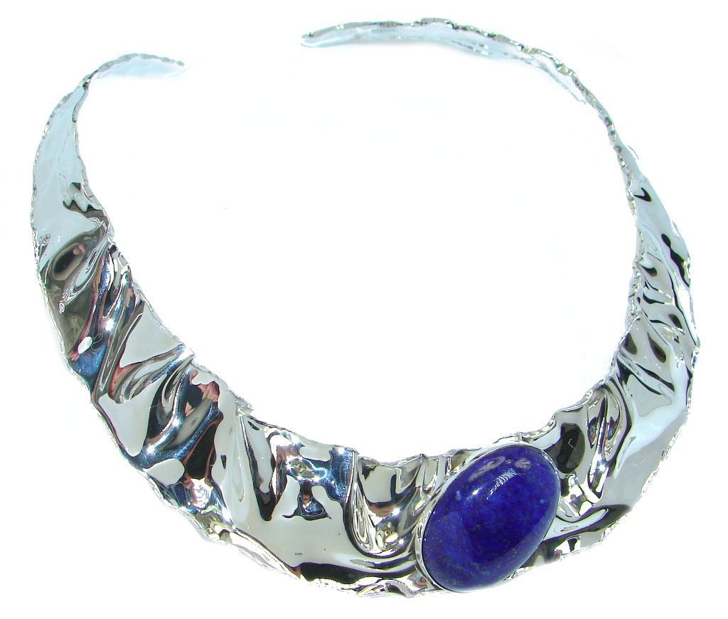 Great Beauty Lapis Lazuli hammered Sterling Silver necklace / Choker