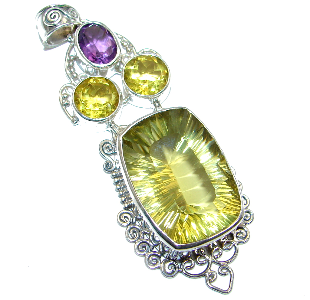 Amazing Yellow Magic Topaz Amethyst Sterling Silver Pendant