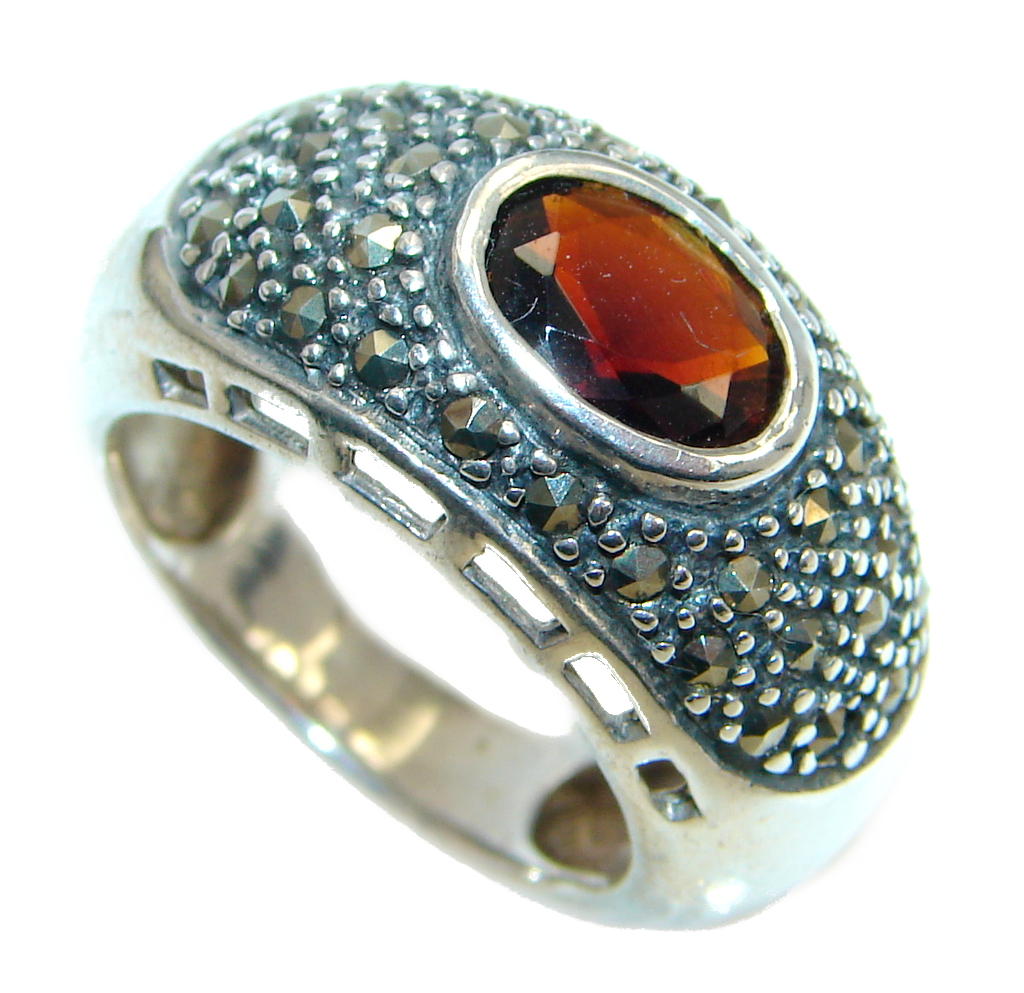 Genuine Garnet Marcasite  Sterling Silver ring size