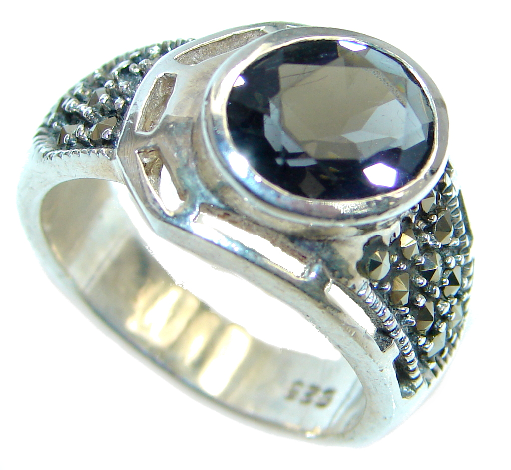 Amazing Natural Deep Blue Topaz Sterling Silver handmade Ring size 7 1/2