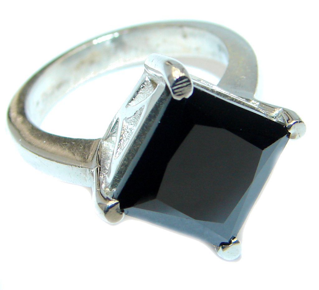 Black Onyx Sterling Silver handmade ring size 7 1/2