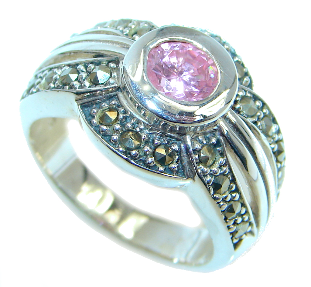marcassite.com view the photo of  Great Cubic Zirconia Sterling Silver handcrafted Ring size 7