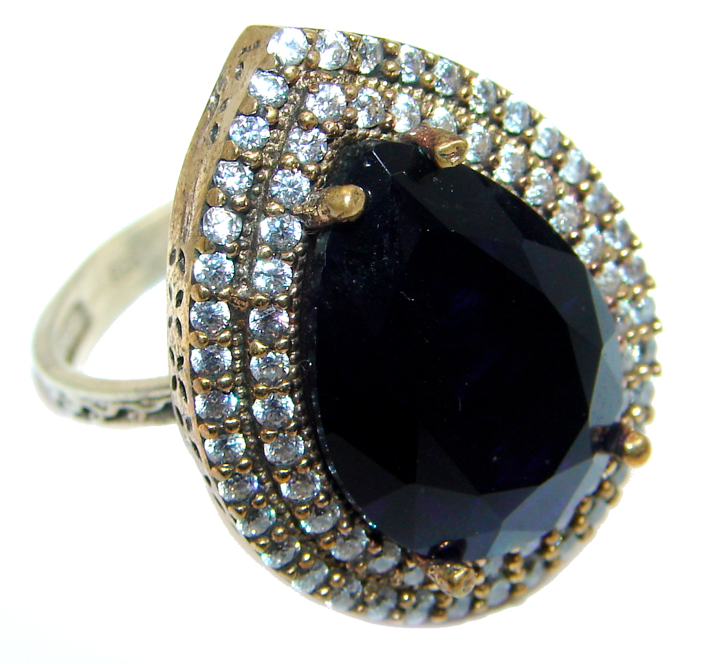 Created Blue Sapphire & White topaz Sterling Silver Ring s. 8 1/2