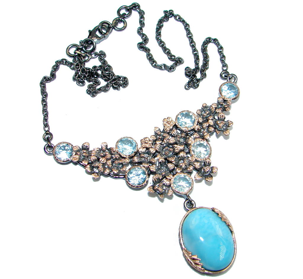 Masterpiece Natural Blue Larimar Swiss Blue Topaz Rose Gold lated over Sterling Silver handmade necklace