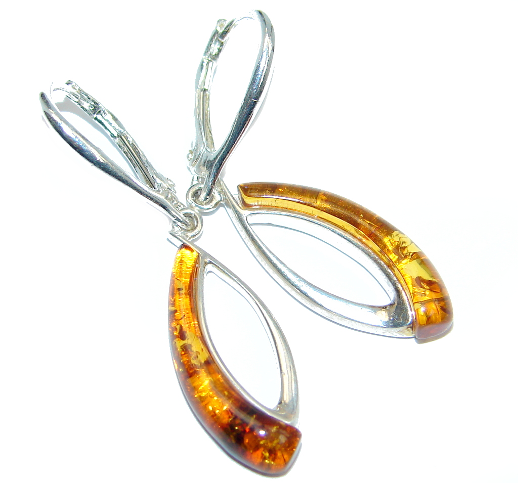 Beautiful Deep Cognac color Polish Amber Gold plated over Sterling Silver Ea..