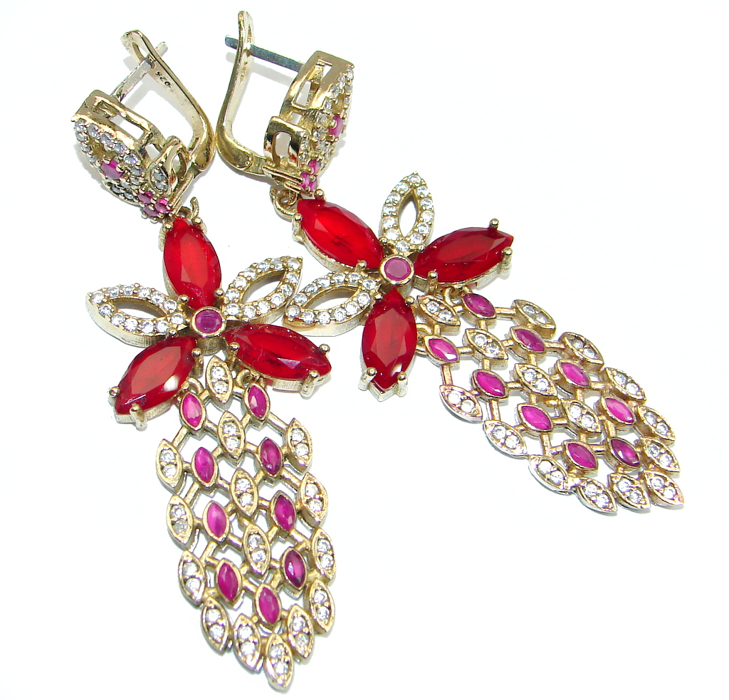 Mega Chunky Victorian Style created Red Ruby Sterling Silver chandelier earrings