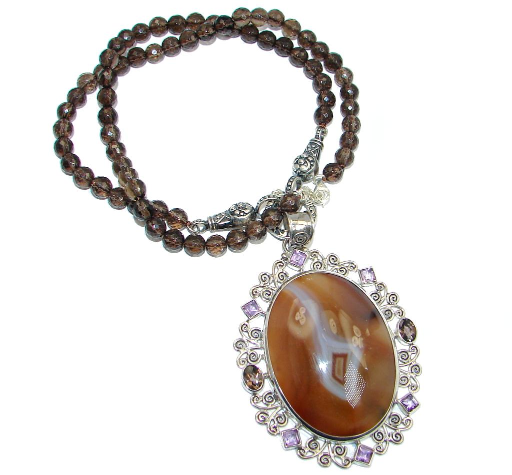 Gracious Genuine Botswana Agate Smoky Topaz Beads  Sterling Silver handmade ..