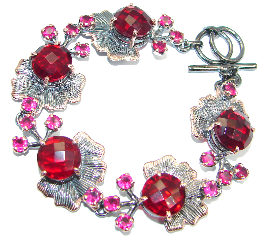 Amazing Flawless Passion Red created Ruby Rose Gold Rhodium plated over Sterling Silver Bracelet