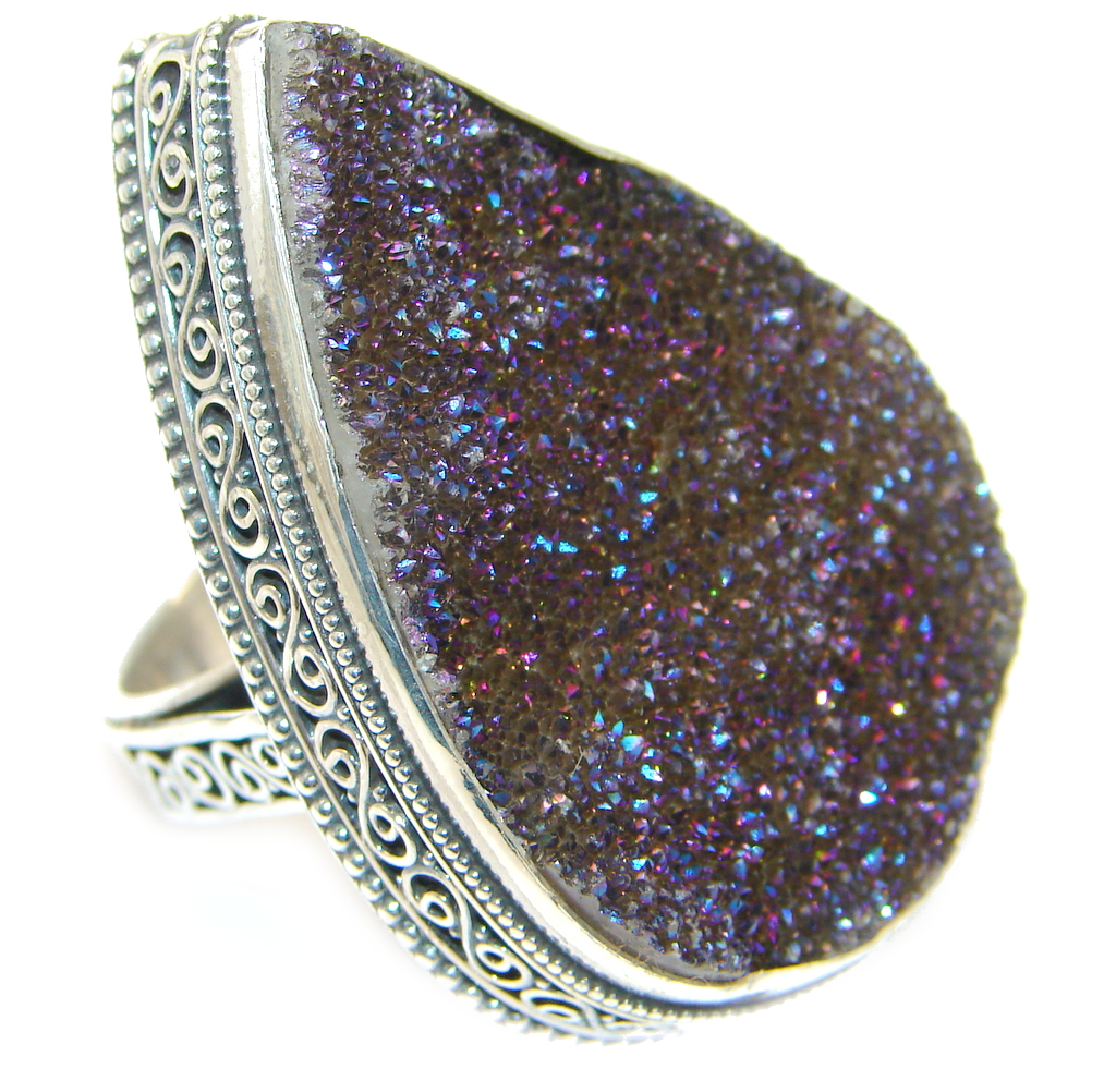 Large Mysterious Titanum Druzy Sterling Silver ring s. 9