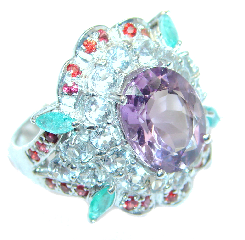 Genuine Amethyst Emerald Ruby Sterling Silver ring size 7 1/2