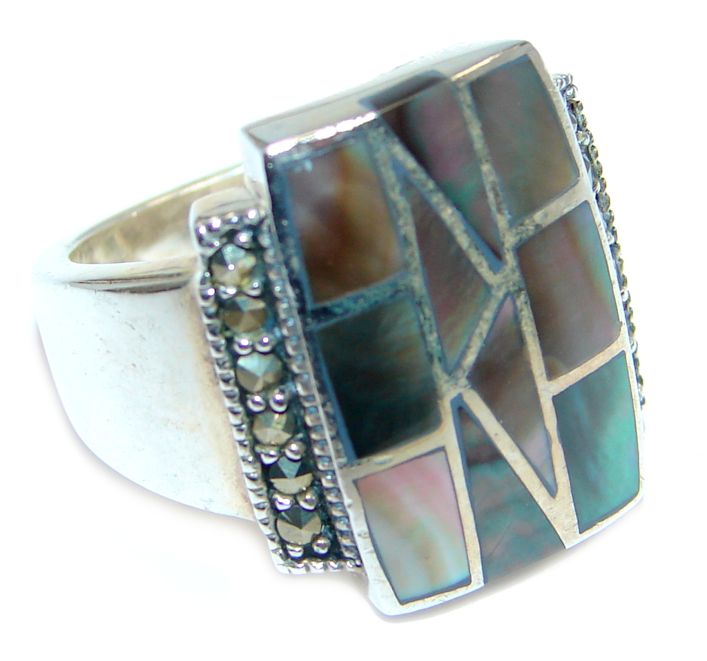 marcassite.com Stylish Rainbow Abalone Sterling Silver ring s. 7