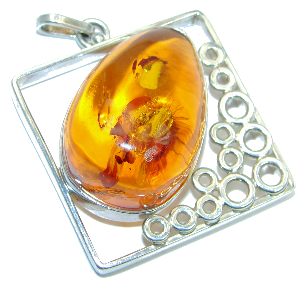 Huge One of the Kind natural Baltic Amber Sterling Silver handmade Pendant